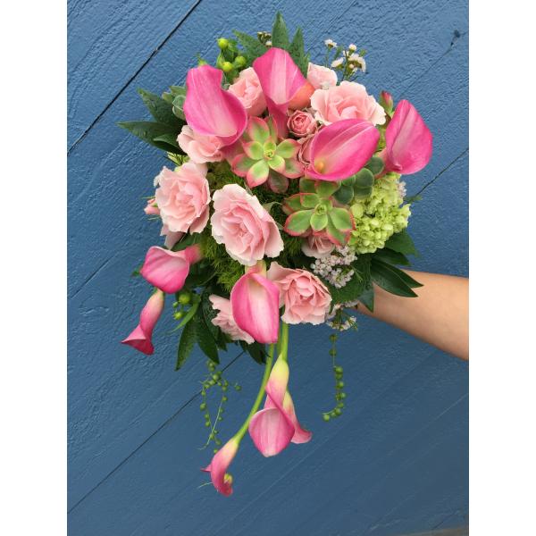 Beaverton Florists Beaverton - Summer pinks and greens: mini callas, spray roses, succulents...