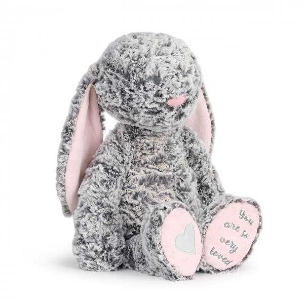 """Beaverton Florists Beaverton - Super soft, luxurious gray plush toy is 16"""" tall and features pink fabric accents inside the ears and on the feet.   Right foot features a satin heart and embroidered text on left foot reads """"You are so very loved."""""""