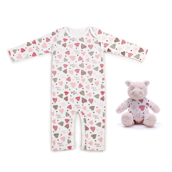 Sweet Heart Hippo and Pajama Gift Set