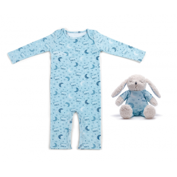 Love You to the Moon & Back Bunny & Pajama Gift Set- Blue Jammie Pals