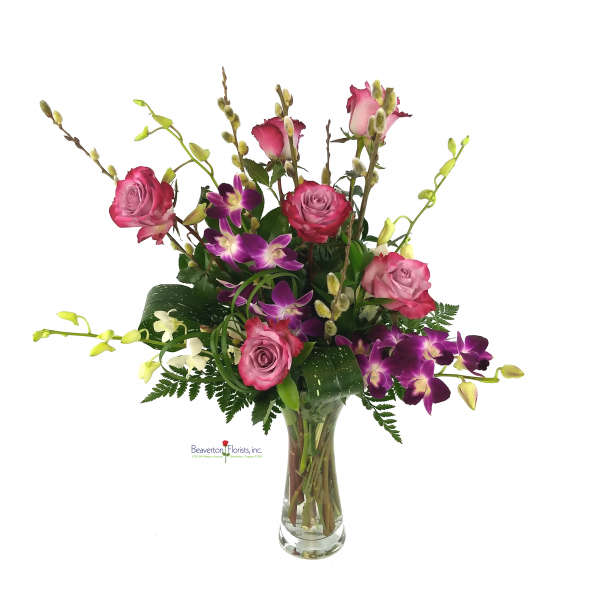 Lavender Roses And Orchids