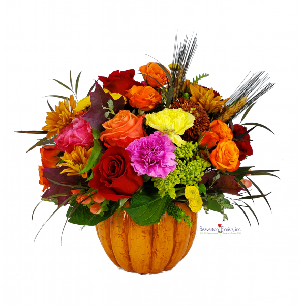Beaverton Florists Beaverton - Simply stunning fall colors in a ceramic pumpkin. So cheerful! *Local Delivery only