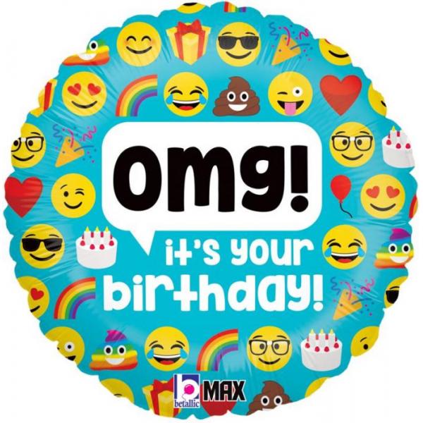 Happy Birthday Emoticon Balloon Mylar