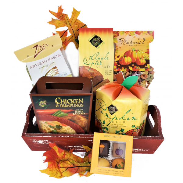 Beaverton Florists Beaverton - Bread, soup, and candy! The essentials for Fall are here!  Enjoy of this wonderful and delicious selection of easy Fall gourmet products to make at home. Bring the flavor to your kitchen!  The basket includes a selection of Fall flavors of:  Bread mix, Pantry soup, Dessert mix, Rainbow angel Hair pasta, Harvest pasta, and Moonstruck Fall 4 pieces.