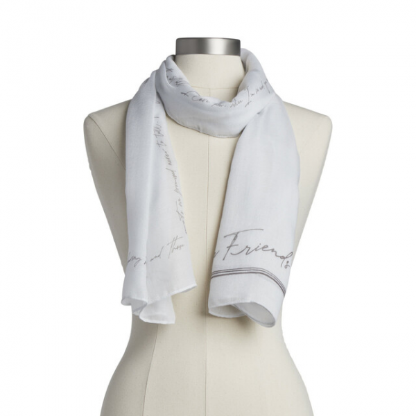 """Beaverton Florists Beaverton - Our Dear You Collection values expressions conveyed through the art of letter writing. As such, this scarf offers an unexpected gifting experience that captures the careful effort and anticipation of sending and receiving a thoughtful note. The Dear You Scarf -Friend comes in a versatile white color to be worn out and about for everyday use, including family photos and other special occasions. Written with love and packaged for unforgettable gifting, this scarf shares the sweet sentiment, """"Forever Friends I love how sometimes we can shared a long, meaningful conversation…while saying nothing at all. I love how, when I'm in need, you never ask how, where or why… you're just there no matter what. Usually with Wine"""" Gift the Dear You Scarf - Friend for birthdays, holidays and other heartfelt occasions."""