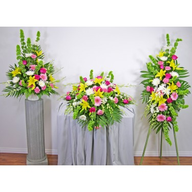 Beaverton Florists Beaverton - <p>Pinks, yellows, greens and whites make this a favorite. The memories will be fond for years to come.</p><br /> <p>This set includes all 3 items and makes a very nice display.</p><br /> <p></p><br /> <p><strong>Note: You save $50 when you order all three items</strong></p>
