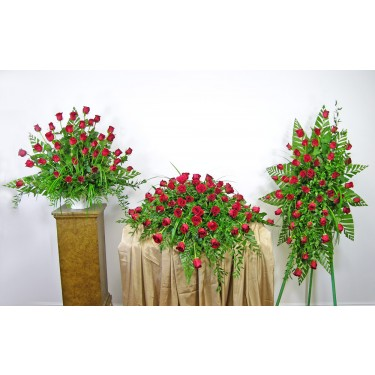 Beaverton Florists Beaverton - <p>The Forever Yours Sympathy Set is a beautiful display of all red roses.</p><br /> <p>Red roses are the default but we can do this in any of the colors of roses available. Pink, Yellow, White, Lavender, Orange, and many more. Call for more choices.</p><br /> <p>The arrangement has 36 roses.</p><br /> <p>The Standing Spray has 48 roses.</p><br /> <p>The Casket spray has 60 roses.</p><br /> <p></p><br /> <p><strong>Note: You save $50 when ordering all 3 items.</strong></p>