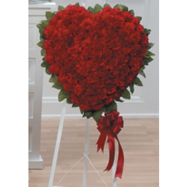 Solid Red Carnation Heart Standing Spray