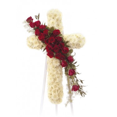 Standing White Cross With Red Roses On Easel
