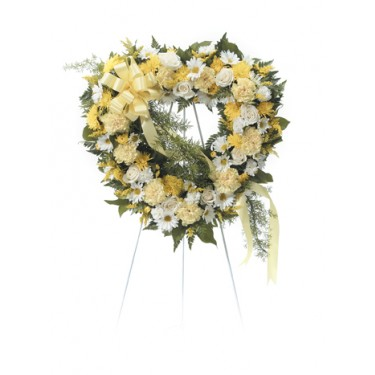 Yellow And White Open Heart Standing Spray