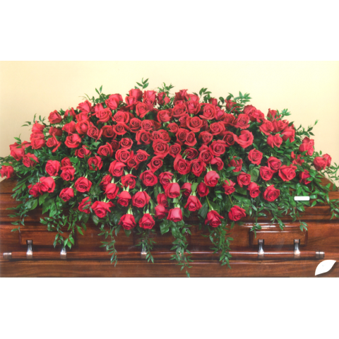 All Red Roses Casket Spray