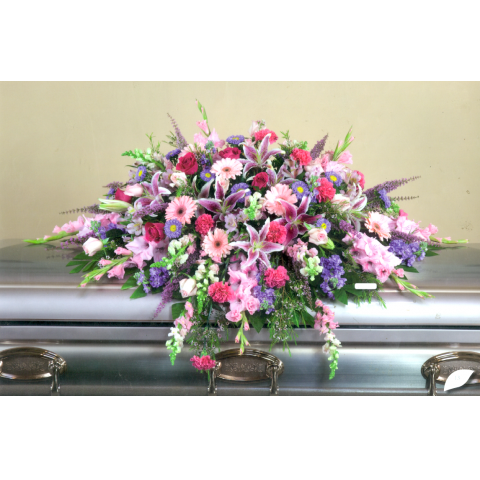 Lavender and Pink Casket Spray