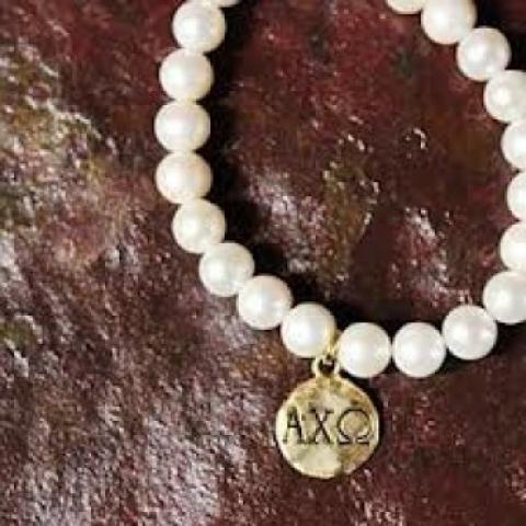 Alpha Chi Omega Charm & Faux Pearl Bracelet