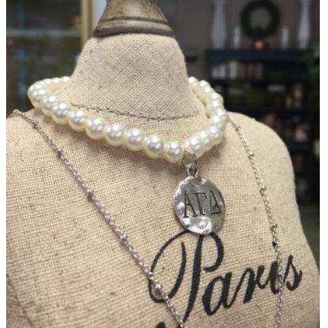 AGD Faux Pearl Silver Bracelet