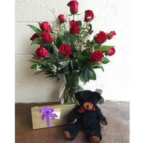 Dozen Red Roses Plush Special