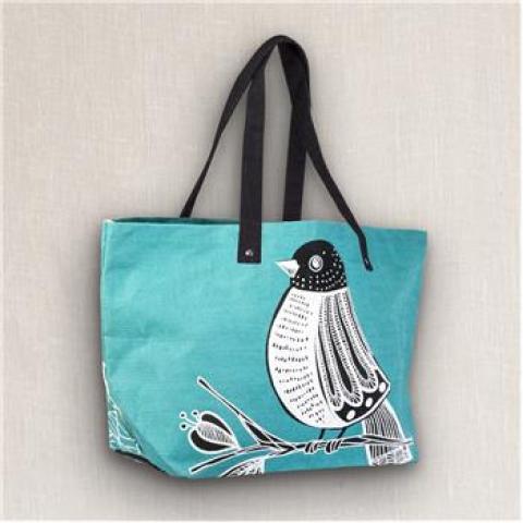 """Karma """"Bird"""" Jute Tote Bag"""