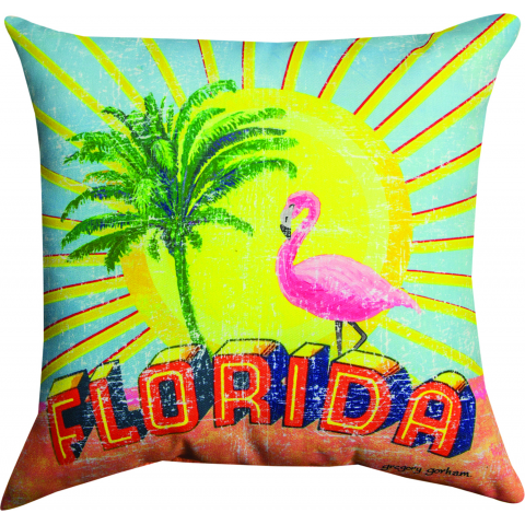 Vintage Style Florida Throw Pillow
