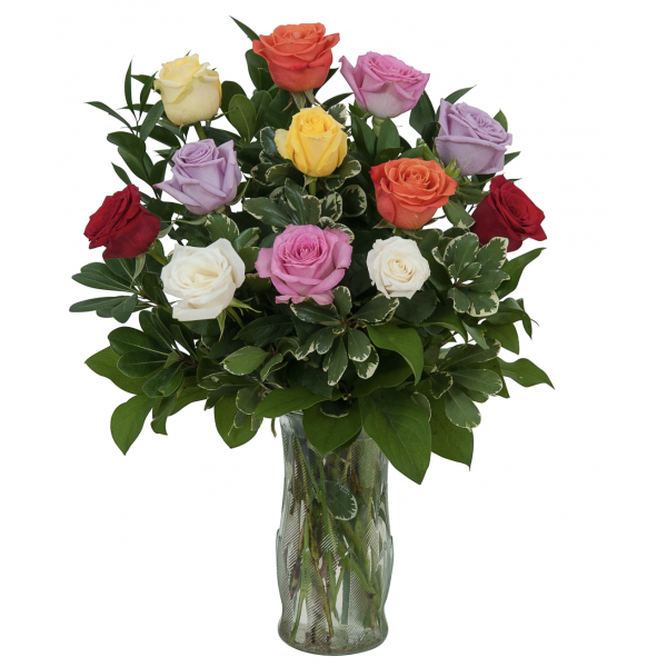 Dozen Premium Long Stem Mixed Colors Roses