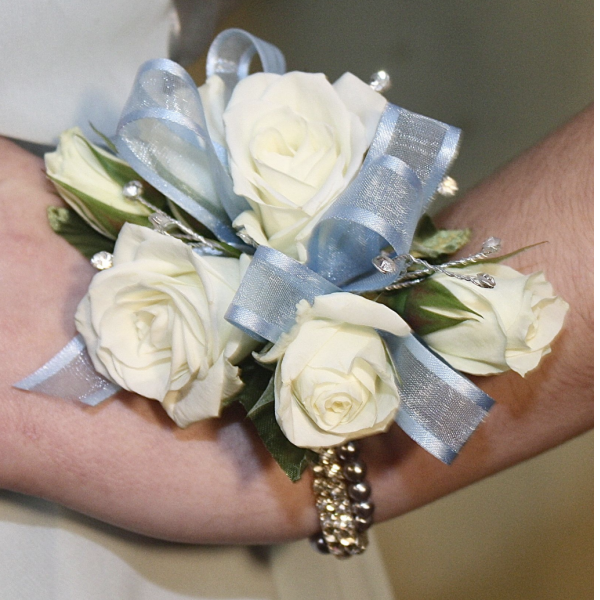White Spray Roses Wrist Corsage