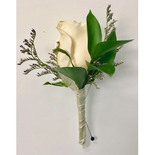 White Rose Boutonniere with Caspia and Greenery