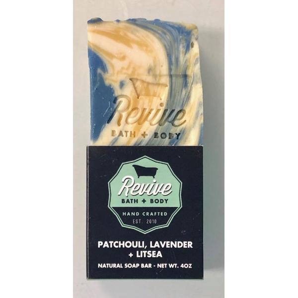 Revive Bath & Body 4oz Patchouli, Lavender and Litsea Soap