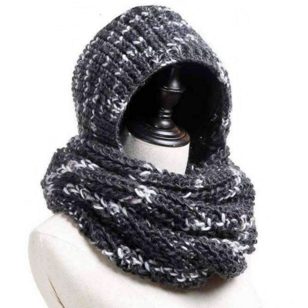 Mad Style Gray Hoodie Knit Infinity Scarf