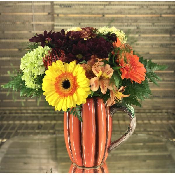 Cooler Arrangement - Pumpkin Pitcher Vase 10/9/19