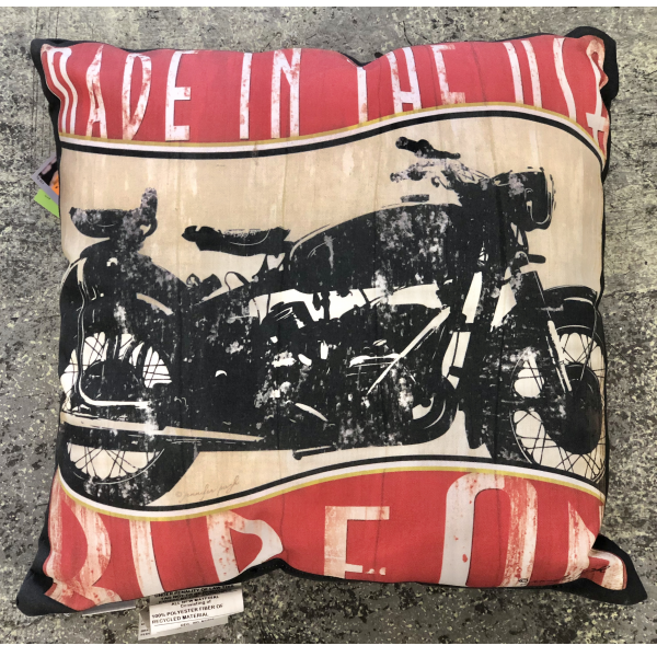 Manuel Woodworkers Vintage Motorcycle Throw Pillow