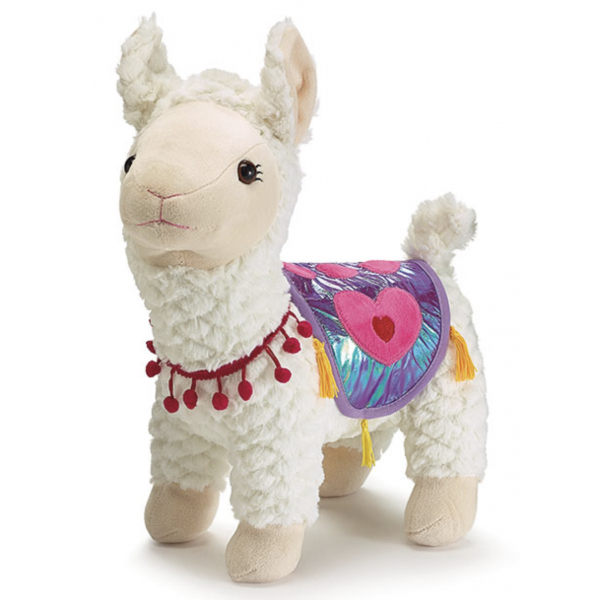 Plush Standing Valentine Llama With Blanket