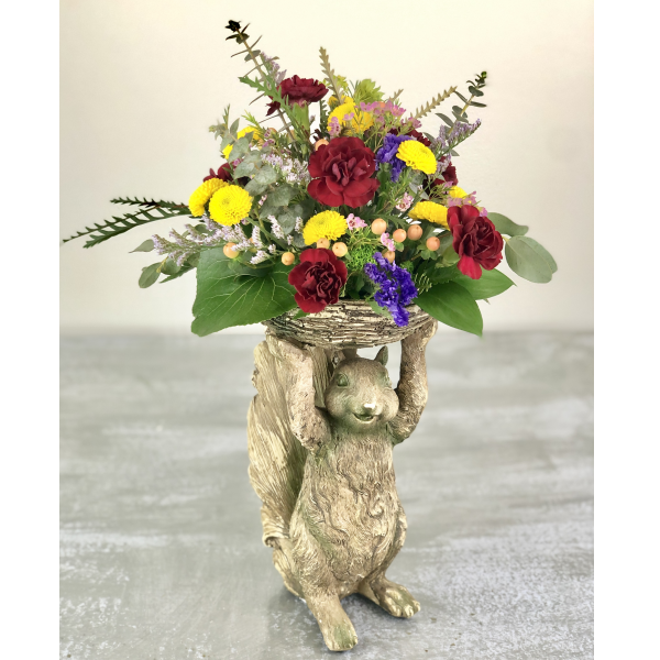 K&K Interiors Standing Squirrel with Fall Collection of Flowers