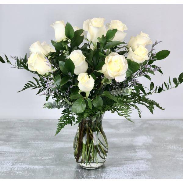 Dozen Premium White Roses