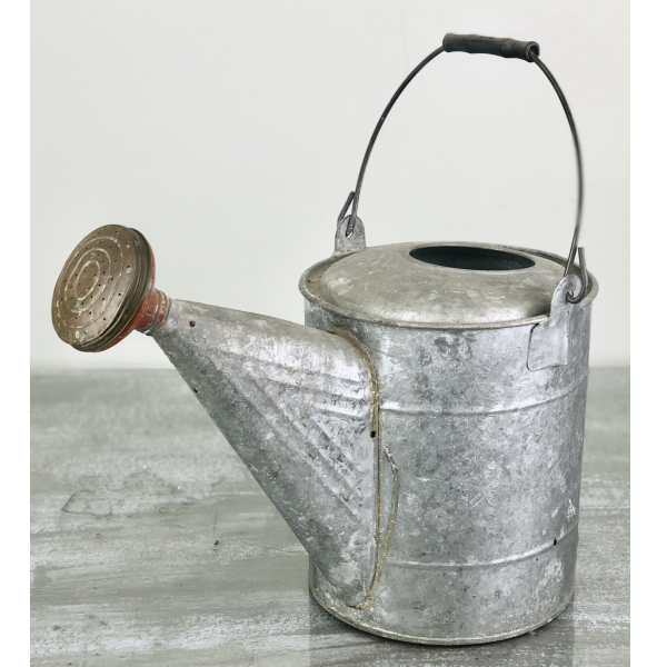 Vintage Galvanized Watering Can for Decor