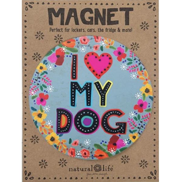 Natural Life I Love My Dog Car Magnet