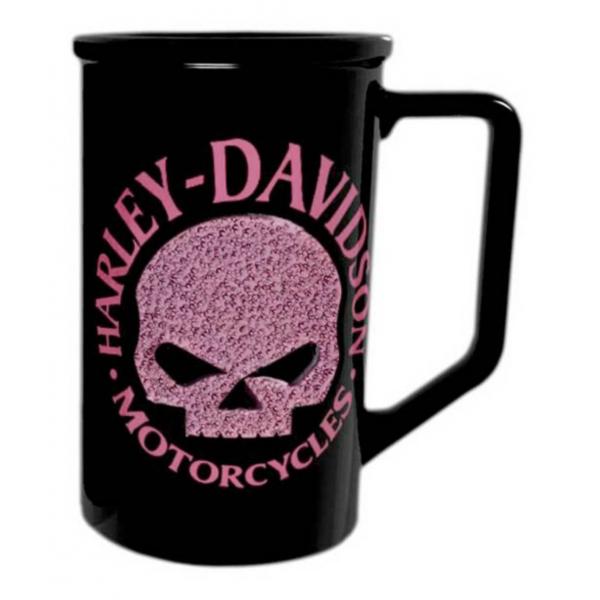Harley-Davidson® Beaded Pink Willie G. Skull Logo Coffee Mug