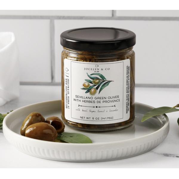 Jocelyn Sevillano Green Olives with Herbs De Provence