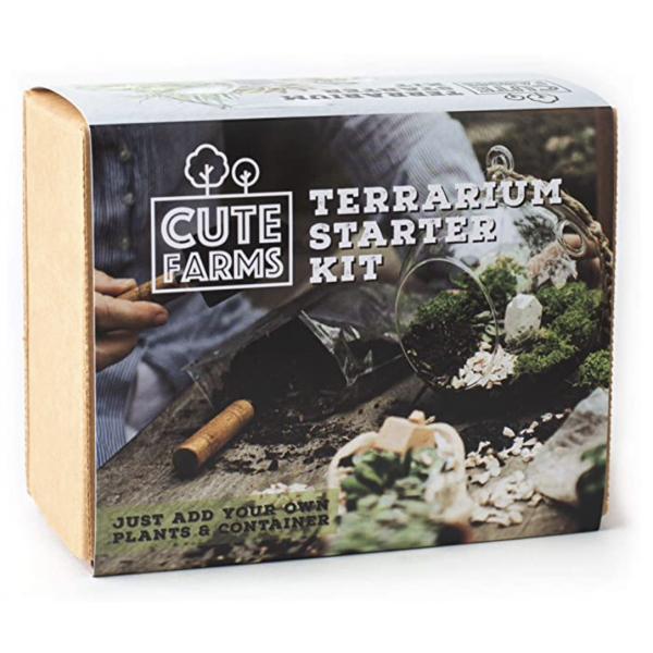 Cute Farms Terrarium Starter Kit | Moss, Vermiculite, Soil, Plant Food, Finishin
