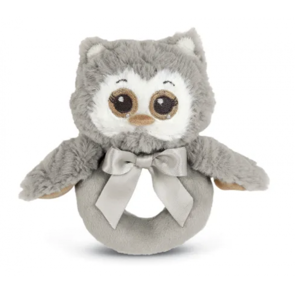 The Bearington Collection - Lil' Owlie Gray Owl Ring Rattle