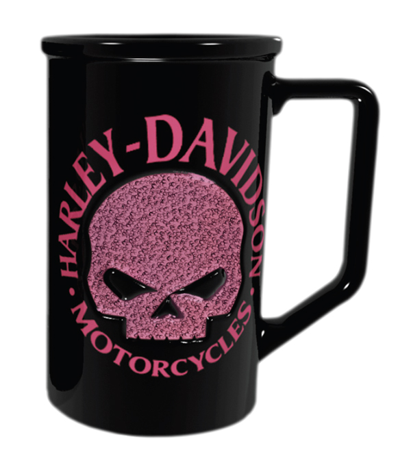 Harley-Davidson Willie G Skull Beaded Pink Black Mug
