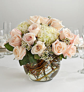 Wedding Centerpiece in Glass Bubble Bowl