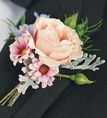 Rose And Daisy Pom Boutonniere