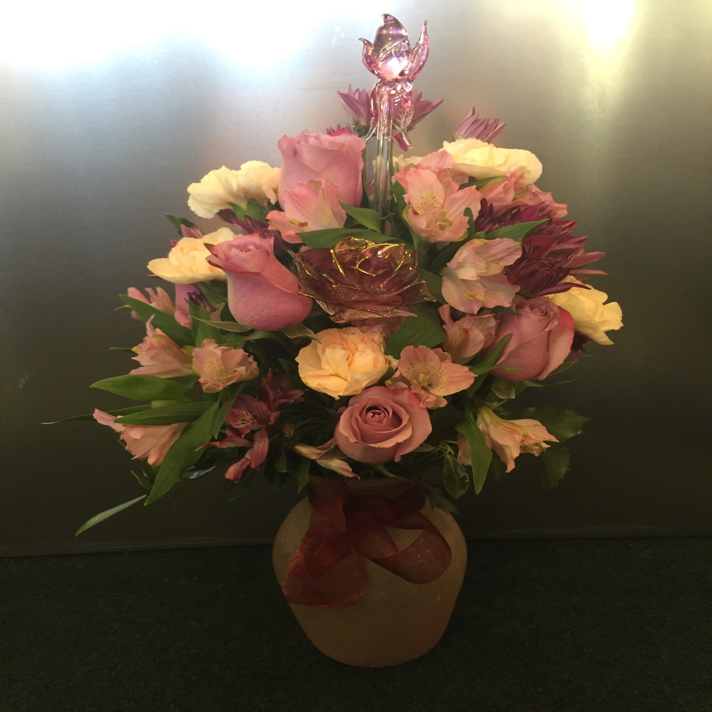 Arrangement with Glass Roses