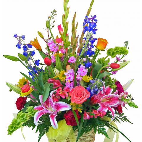 Sparks Florist® - Sparks Call Me Colorful Basket Arrangement