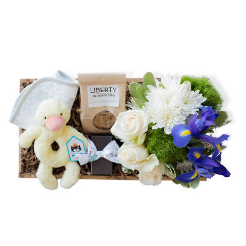 Reno & Sparks Flower Delivery | Sparks Florist® - Reno Bundle of Joy Gift Crate - Blue
