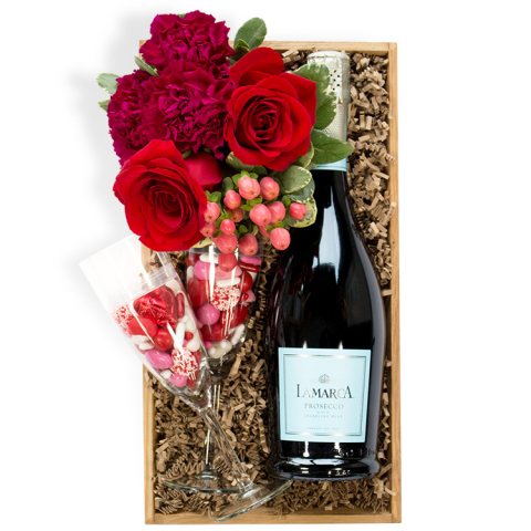 Reno & Sparks Flower Delivery | Sparks Florist® - Sparks Cheers To Us! Gift Crate