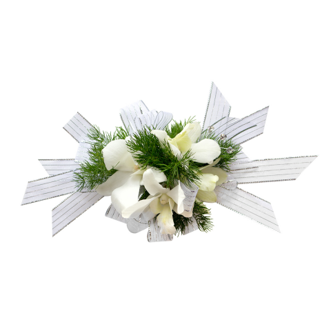 Orchid Pearl Wrist Corsage<br><i>Customize bracelet, ribbon & orchid color</i></ br>