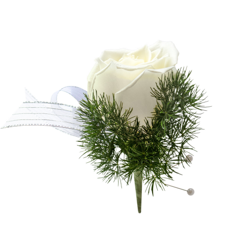 Rose Boutonniere<br><i>Customize ribbon & rose color</i></ br>