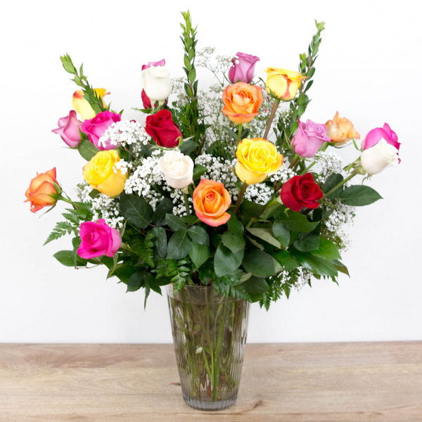 Long Stem Color Roses<br><i>2 dozen roses</i><br />