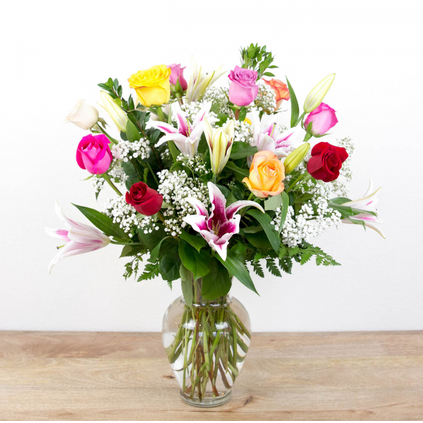 Color Timeless Jewel<br><i>1 dozen roses & lilies</i><br />