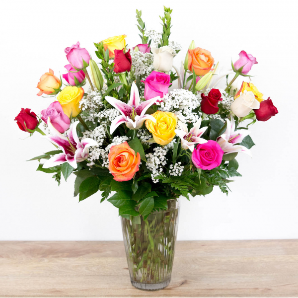 Color Timeless Jewel<br><i>2 dozen roses & lilies</i>