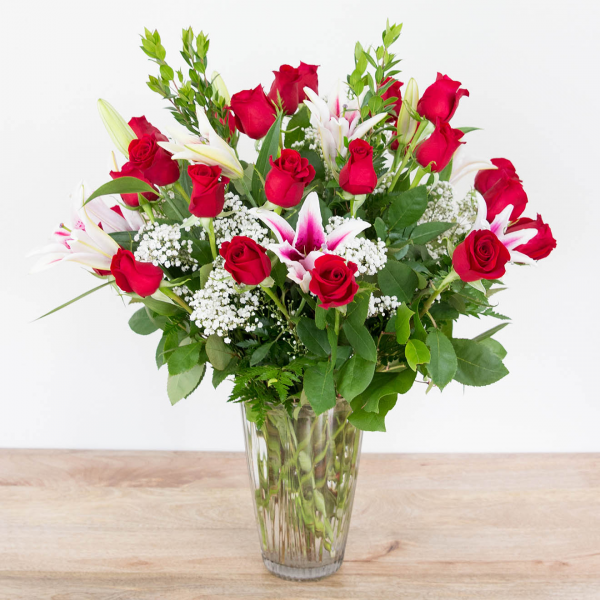 Red Timeless Jewel<br><i>2 dozen roses & lilies</i>